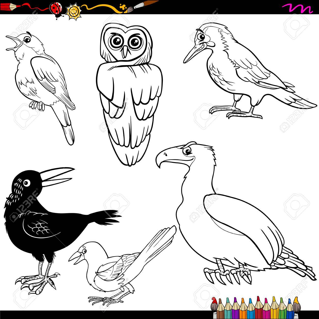 Coloring Book Cartoon Illustration Of Funny Birds Characters Set Stock Vector