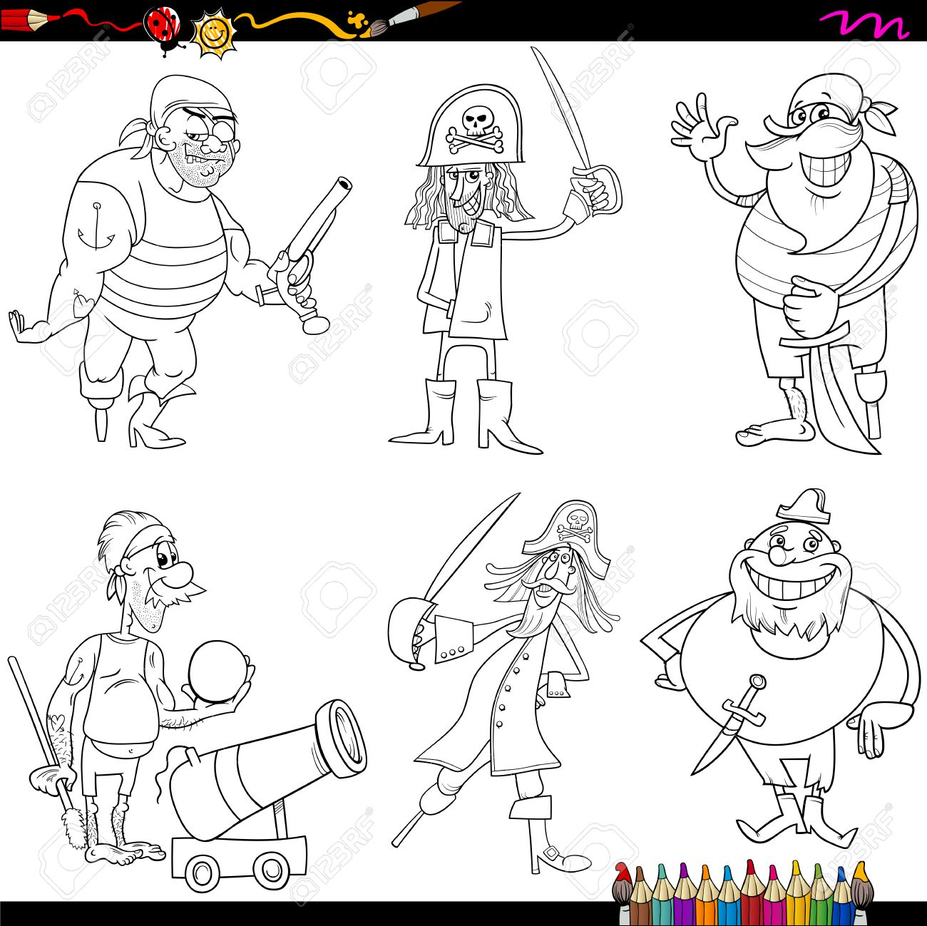 coloring book cartoon ilustración de divertidos personajes de la