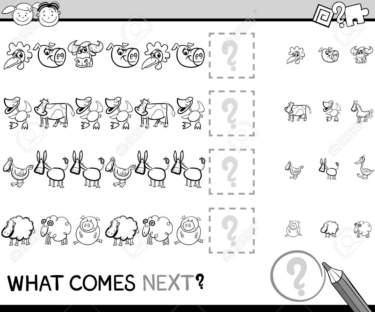 Black and White Cartoon Illustration of Completing the Pattern