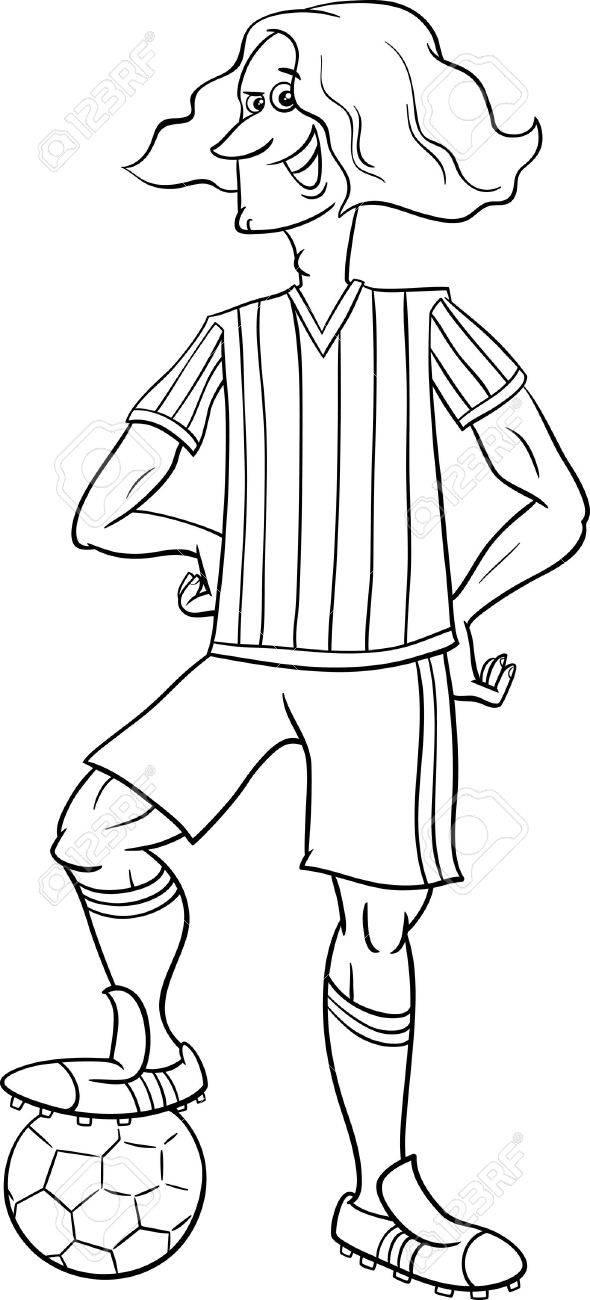 Ilustraciones Animados Blanco Y Negro De Fútbol O Fútbol Jugador De ...