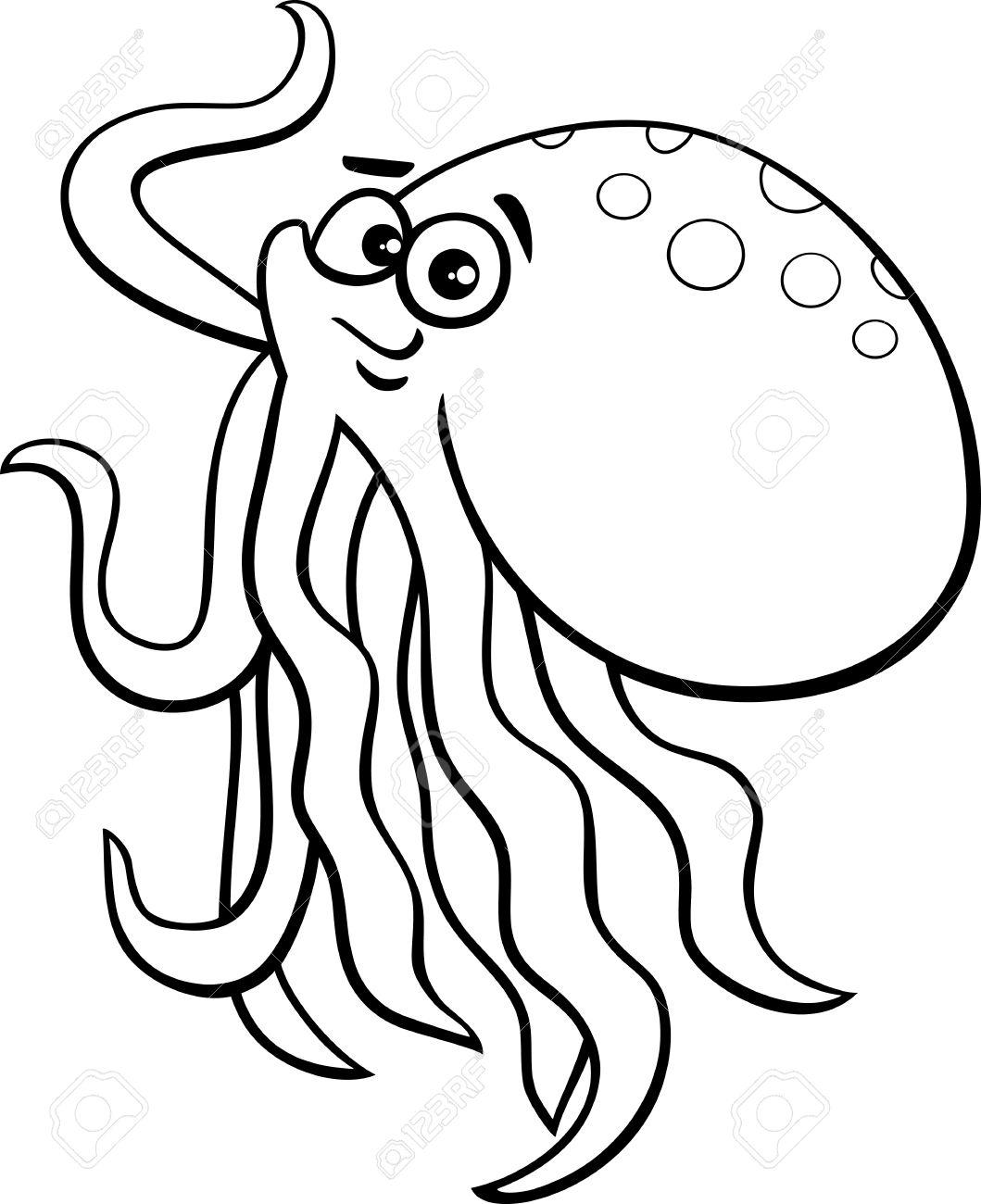 Animados Blanco Y Negro Ilustración De Pulpo Lindo Del Animal De Mar