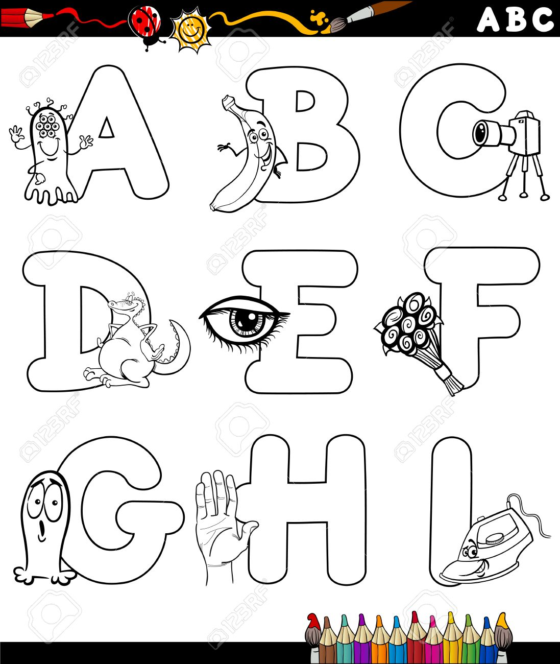 Black And White Cartoon Illustration Of Capital Letters Alphabet With Objects For Children Education From A