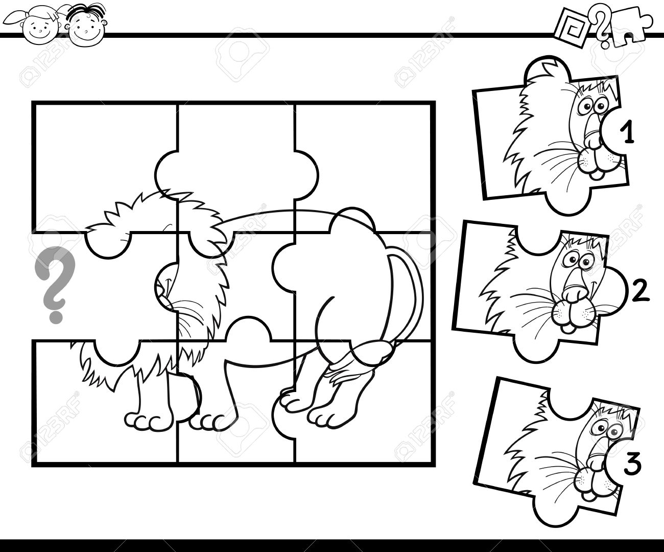 Black And White Cartoon Illustration Of Jigsaw Puzzle Education Game For Preschool Children With Lion