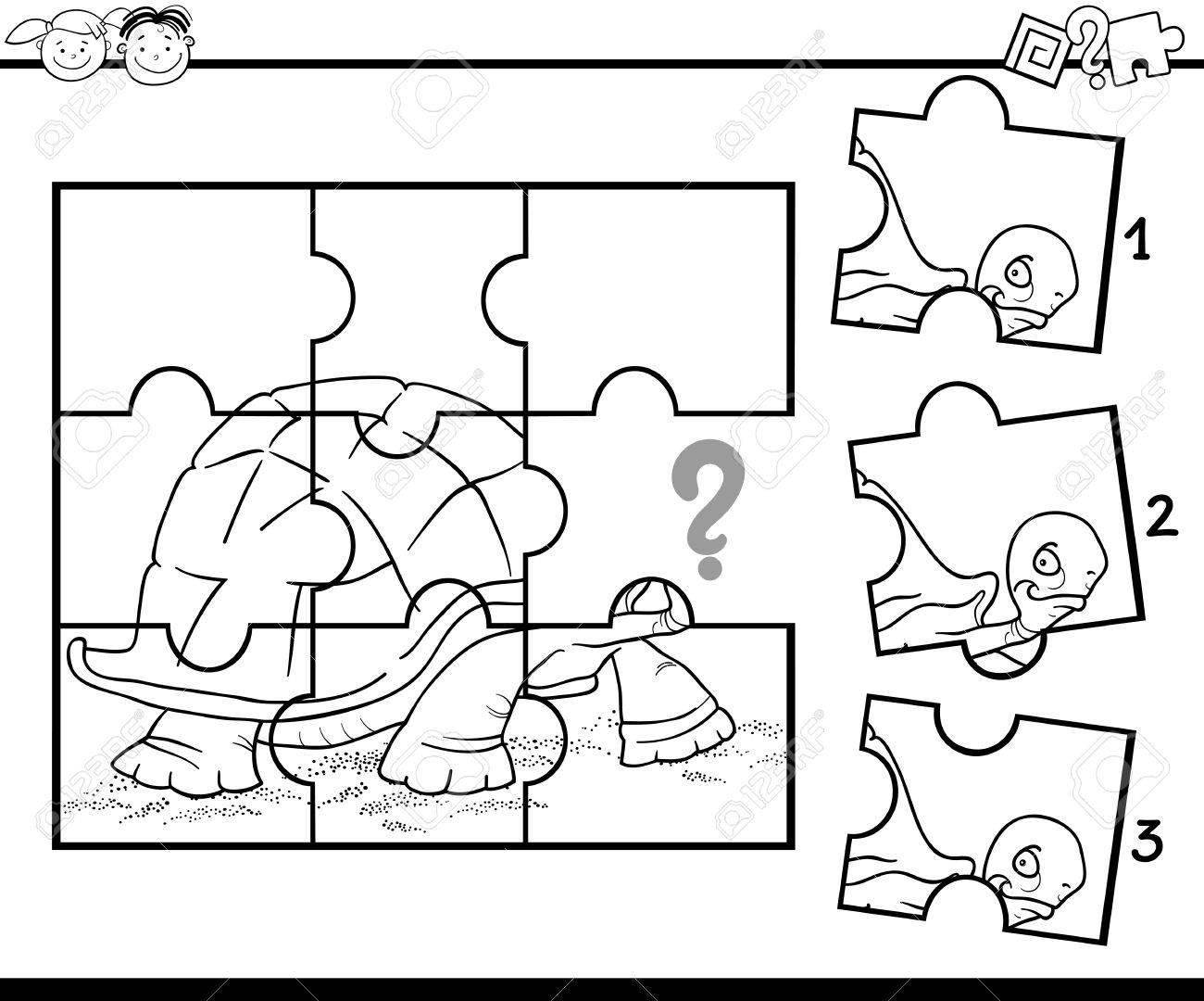 黒と白の漫画イラスト ジグソー パズル教育ゲームのカメの幼稚園児の