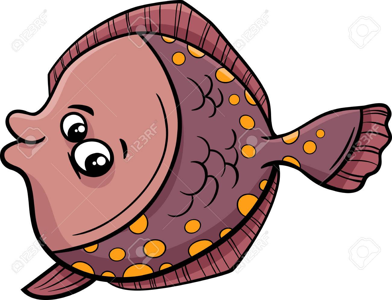 Cartoon Illustration of Funny Flounder Fish Sea Life Animal - 43134792