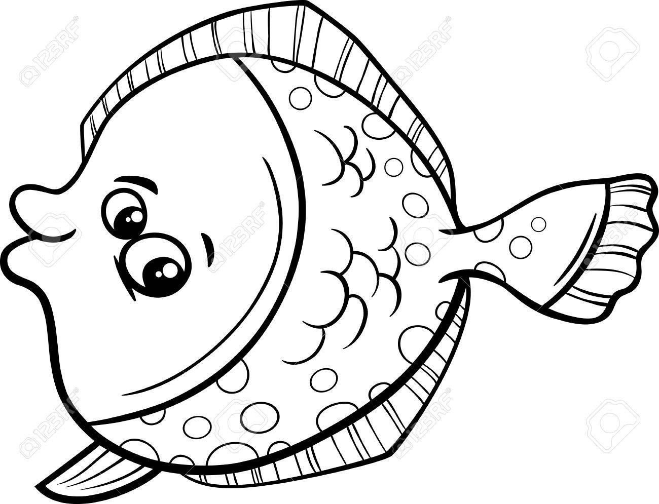 塗り絵のおかしいヒラメ魚海生活動物の黒と白の漫画イラスト