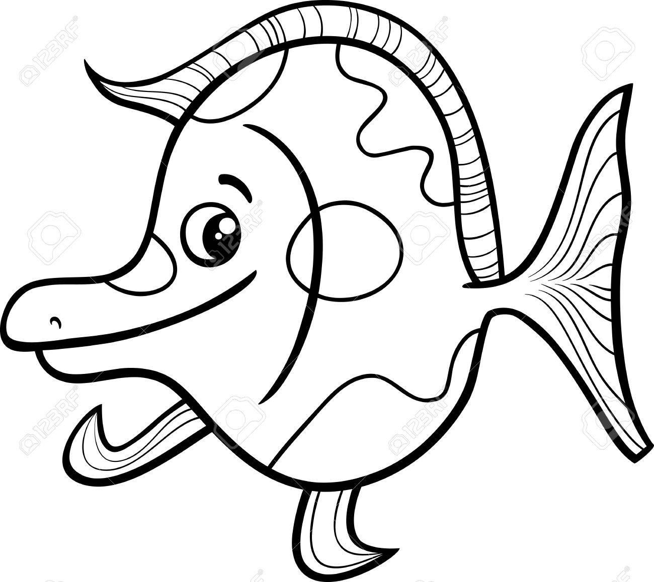 面白いエキゾチックな魚海生活動物塗り絵のための黒と白の漫画イラスト
