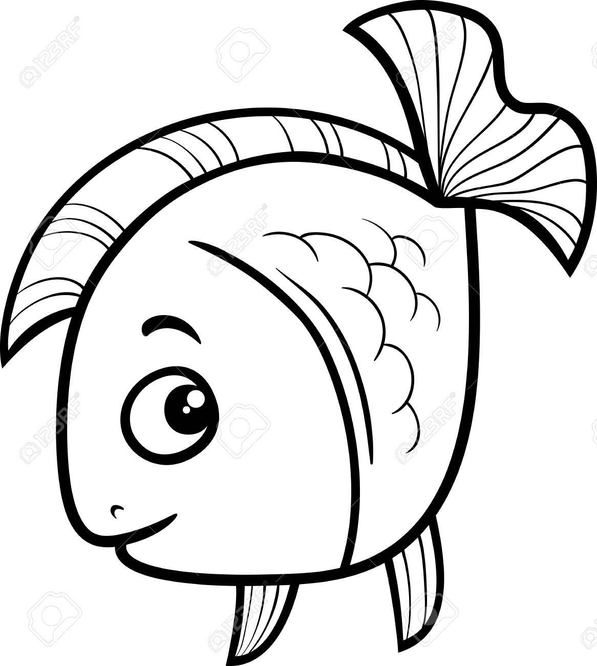 Black And White Cartoon Illustration Of Golden Fish Sea Life Royalty Free Cliparts Vectors And Stock Illustration Image 43134802