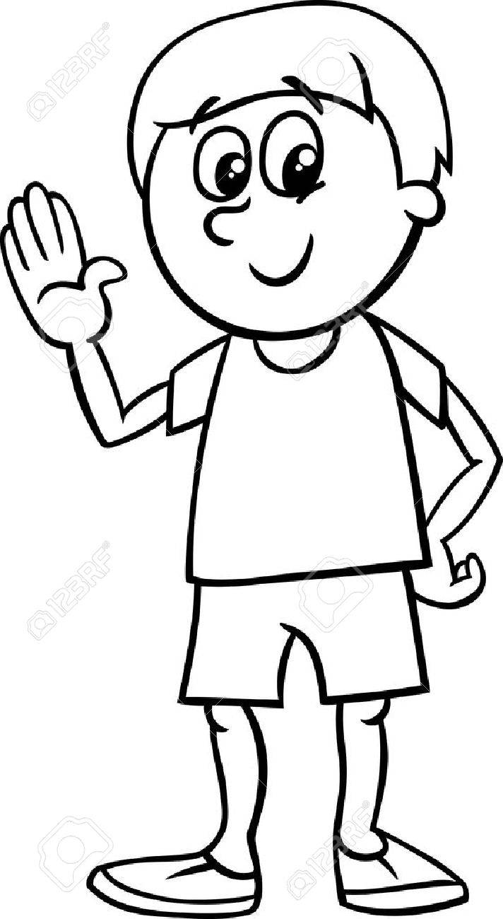 Black and white cartoon illustration of happy little boy character for coloring book stock vector
