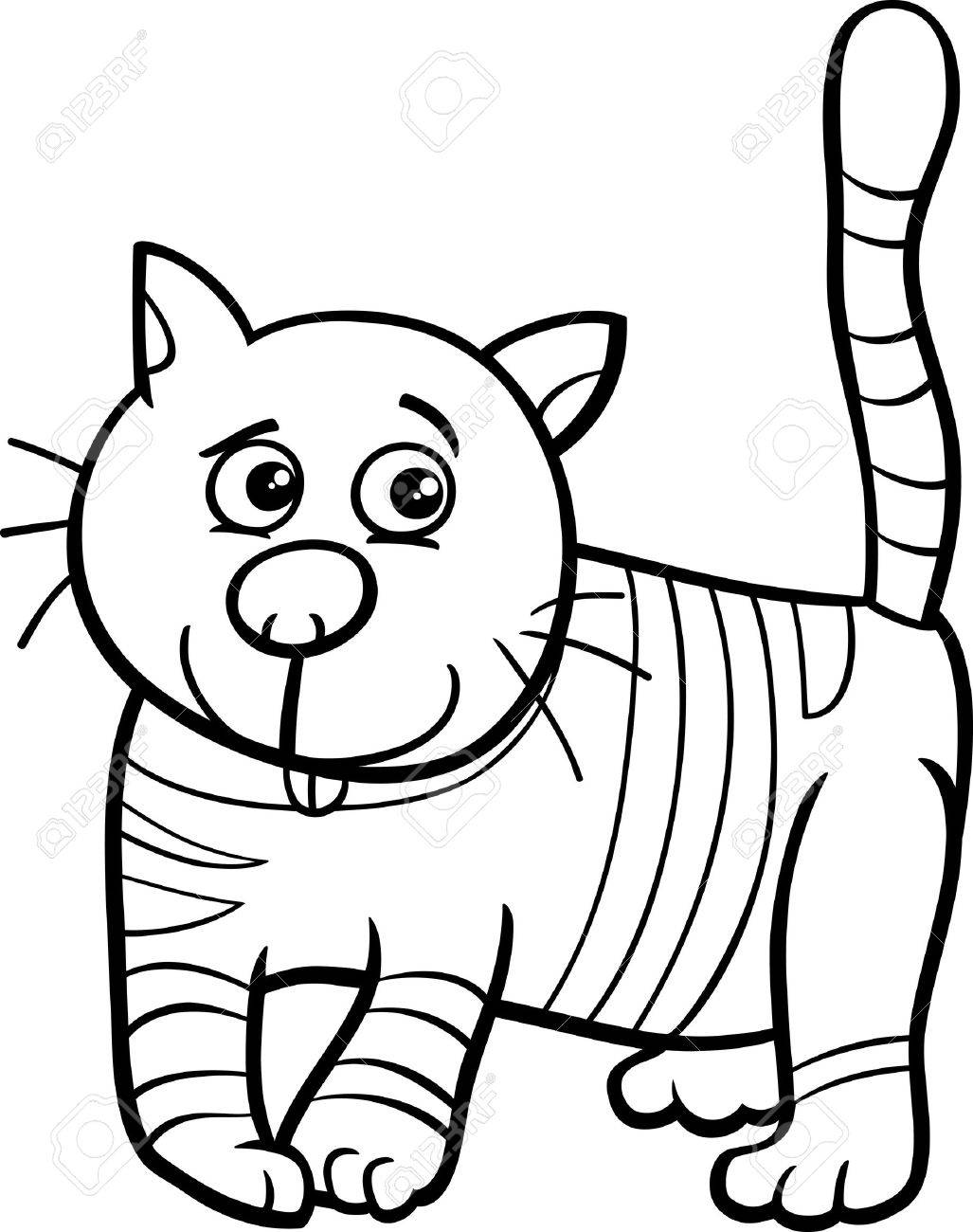 Black And White Cartoon Illustration Of Funny Cat Or Kitten For ...