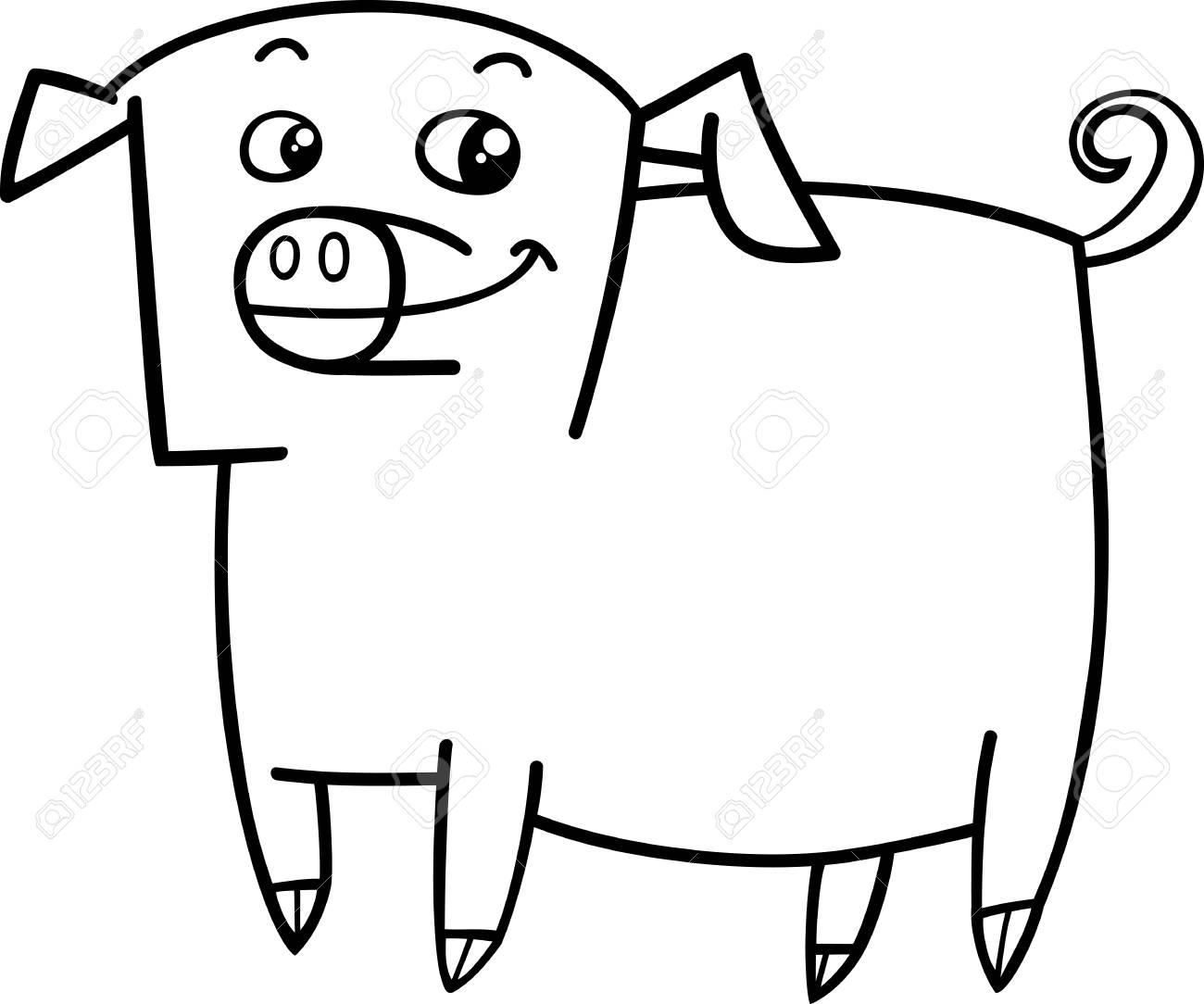 塗り絵の面白い豚ファーム動物文字の白黒漫画イラスト ロイヤリティ