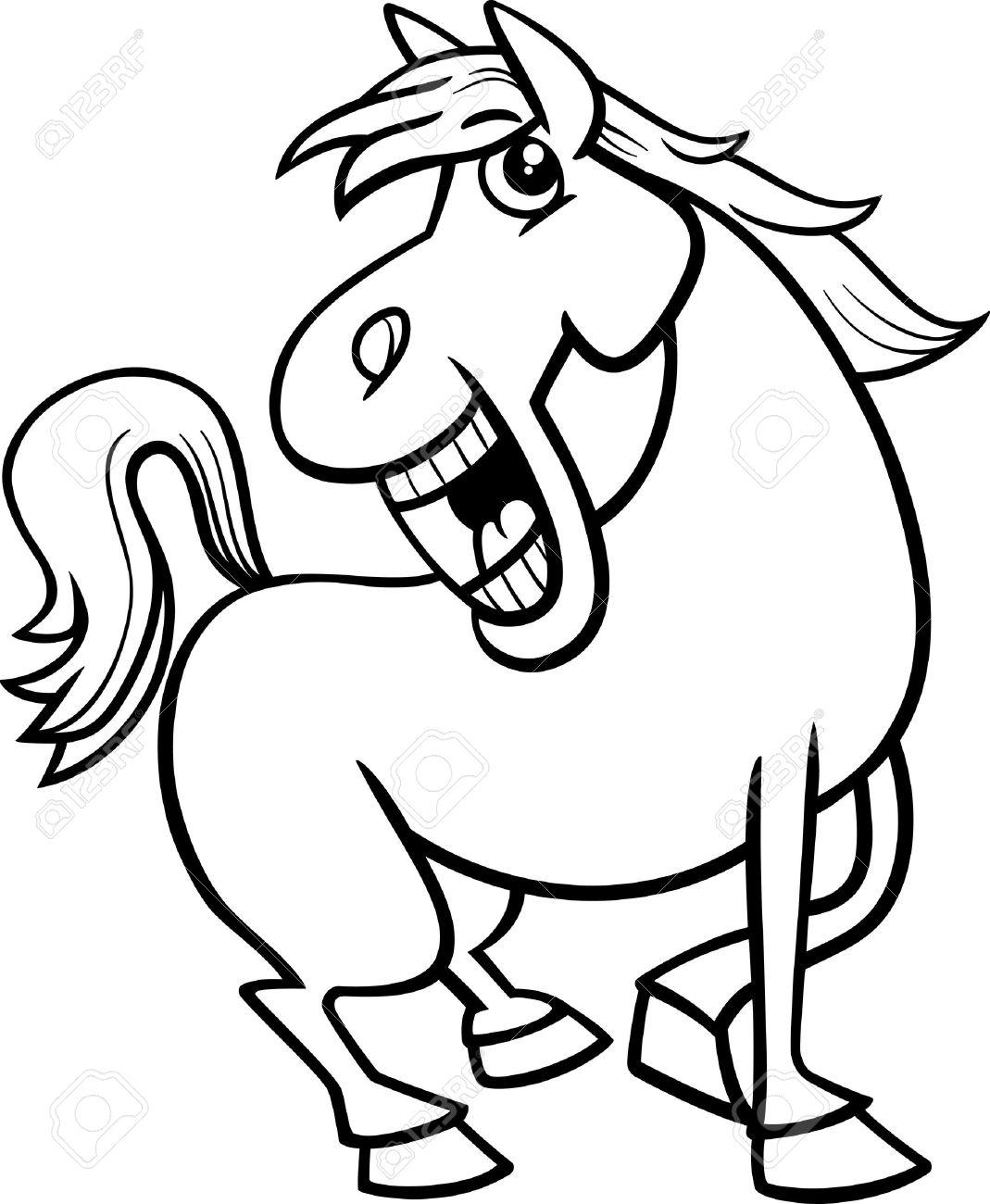 塗り絵の面白い馬ファーム動物文字の白黒漫画イラスト ロイヤリティ