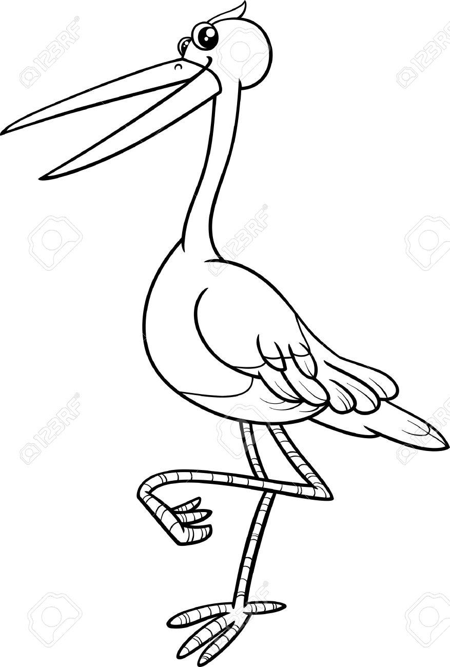Schwarz Und Weiß Karikatur Illustration Der Storch Vogel Tier ...