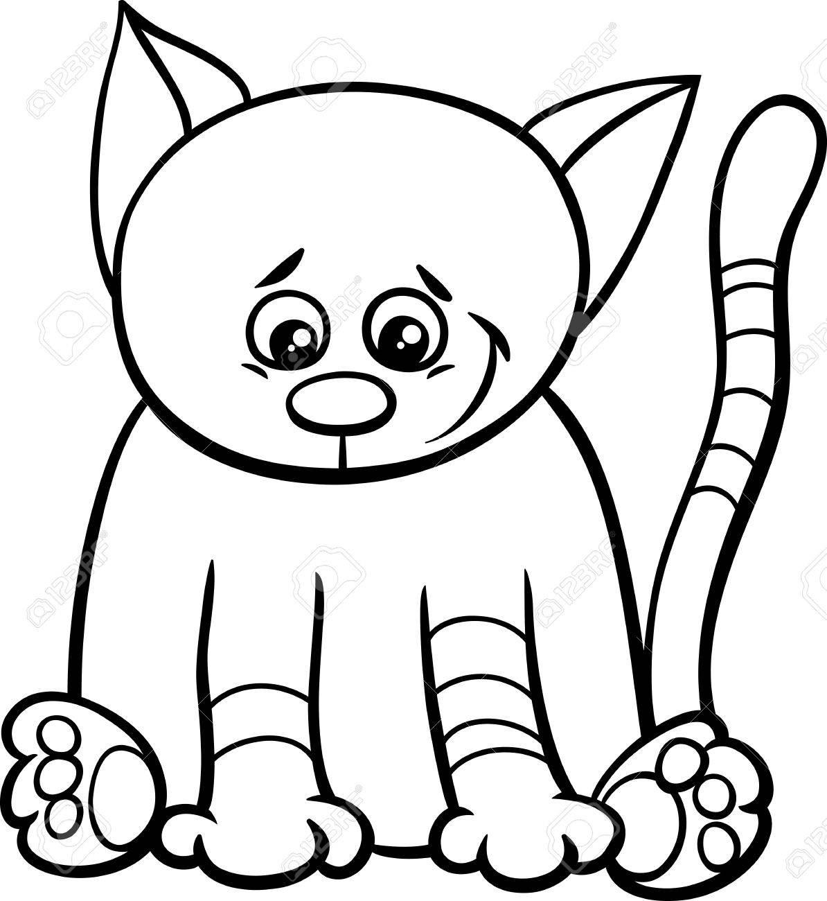 Black And White Cartoon Illustration Of Cat Or Kitten Animal ...
