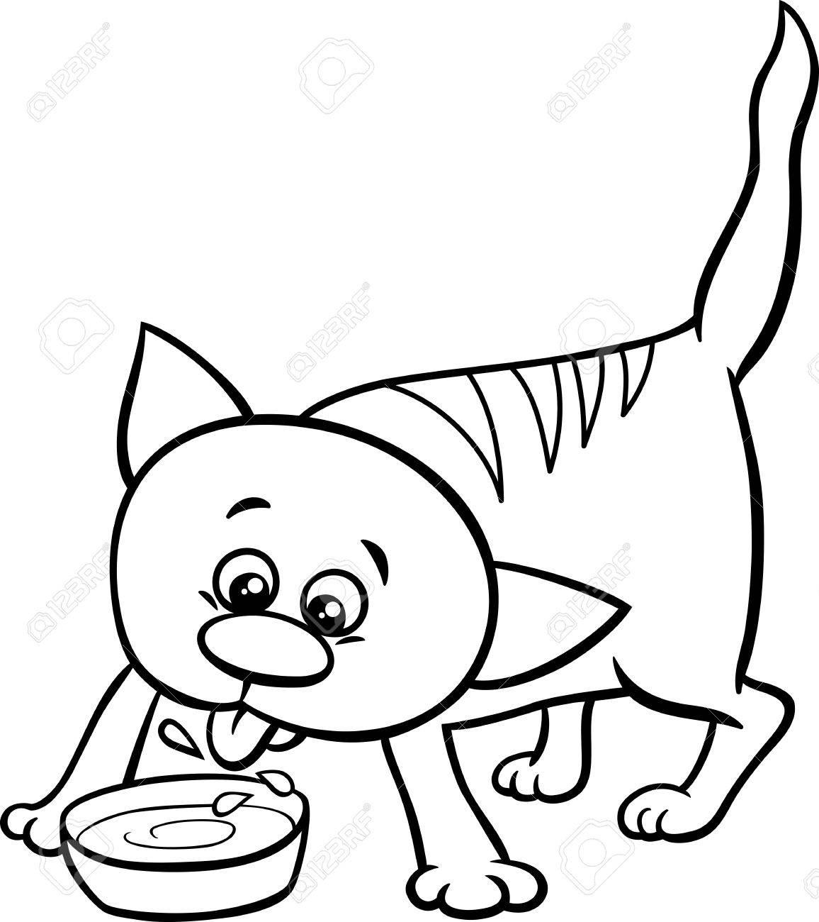 Animados Blanco Y Negro Ilustración De Gato O Gatito Animal Carácter ...