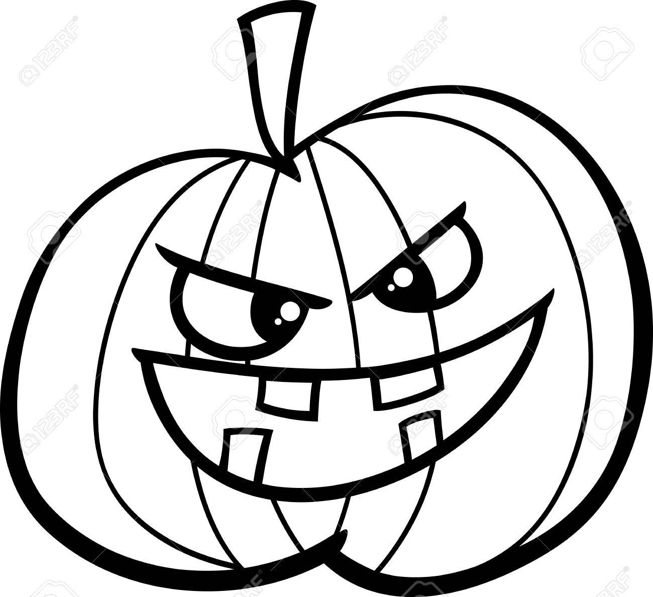 Black And White Cartoon Illustration Of Jack Lantern Halloween ...
