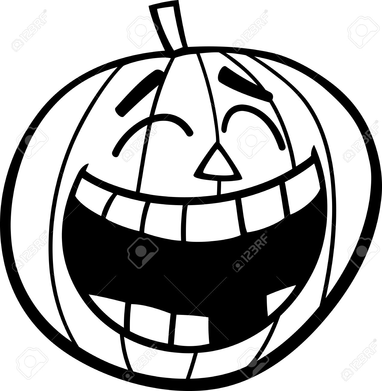 black and white cartoon illustration of laughing halloween pumpkin rh 123rf com pumpkin clipart black and white png pumpkin outline clipart black and white