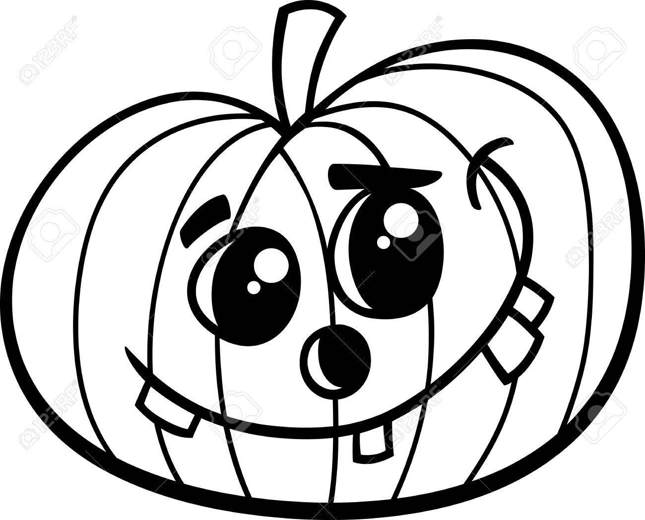 Ilustración De Dibujos Animados En Blanco Y Negro De La Calabaza De Halloween Para Colorear Libro