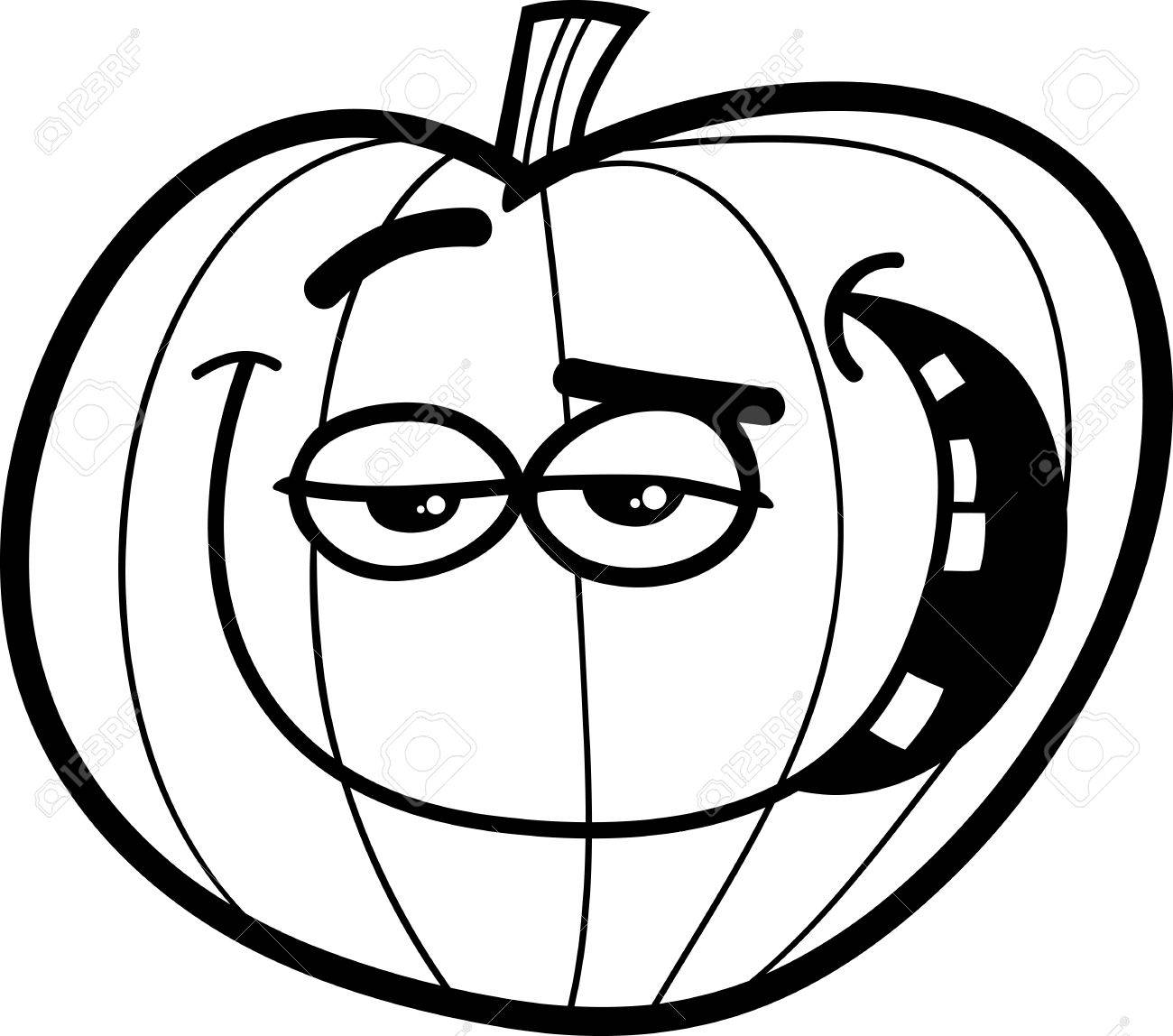 black and white cartoon illustration of halloween pumpkin for