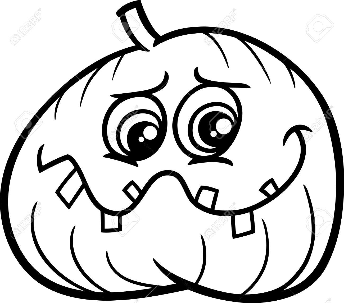 Black And White Cartoon Illustration Of Halloween Jack Lantern ...