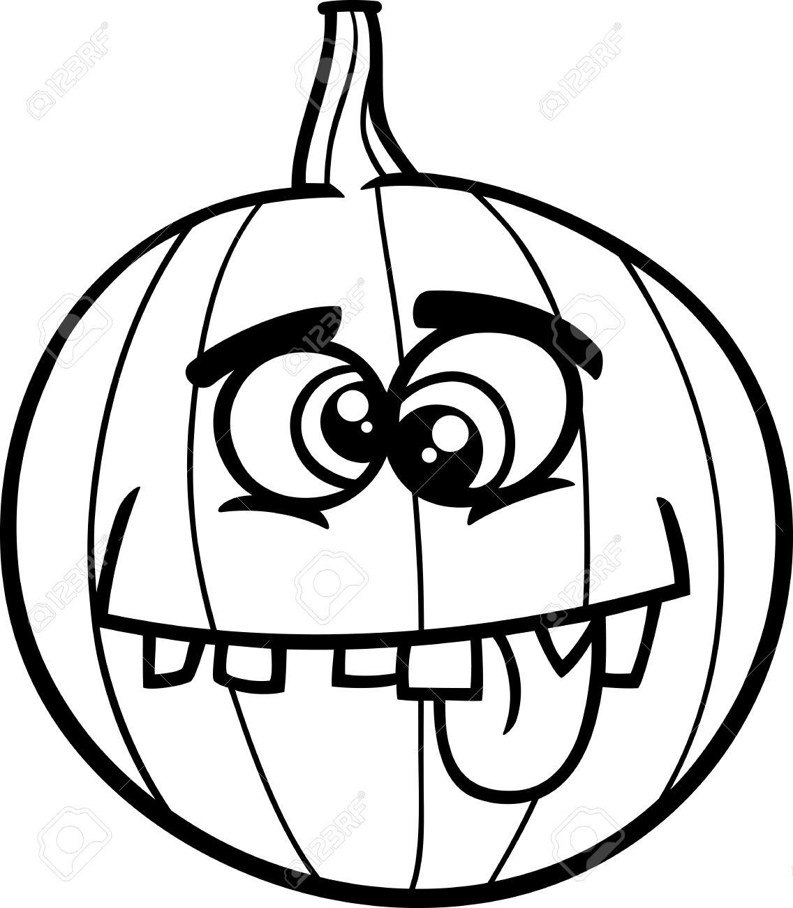 Black And White Cartoon Illustration Of Funny Jack Lantern Pumpkin ...