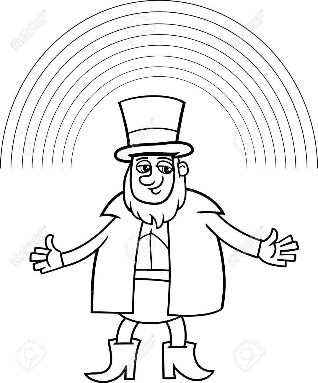 Ilustración De Dibujos Animados Blanco Y Negro Del Leprechaun Con El ...