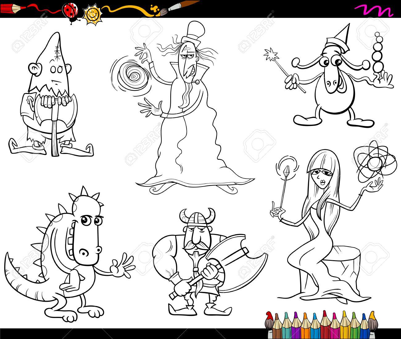 Dibujos Animados De Blanco Y Negro Ilustraciones De Cuento De Hadas ...