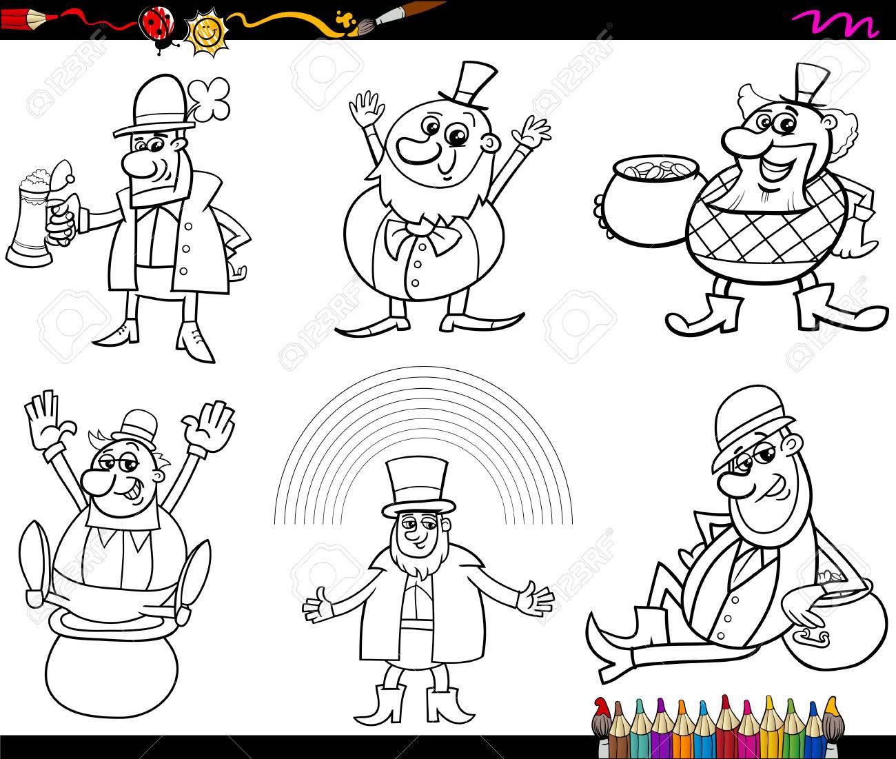 Animados Blanco Y Negro Ilustración Del Leprechaun Y San Patricio ...