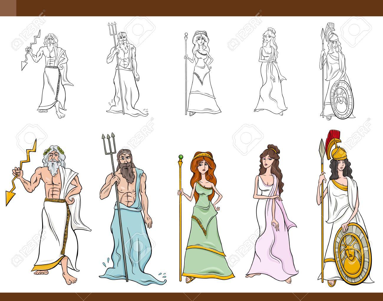 cartoon illustration of mythological greek gods and goddesses