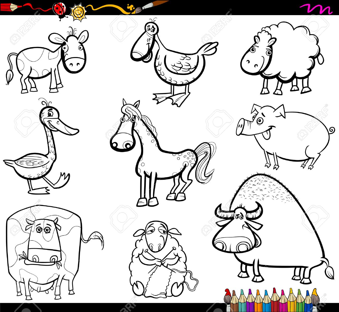 coloring book cartoon illustration of farm animals characters