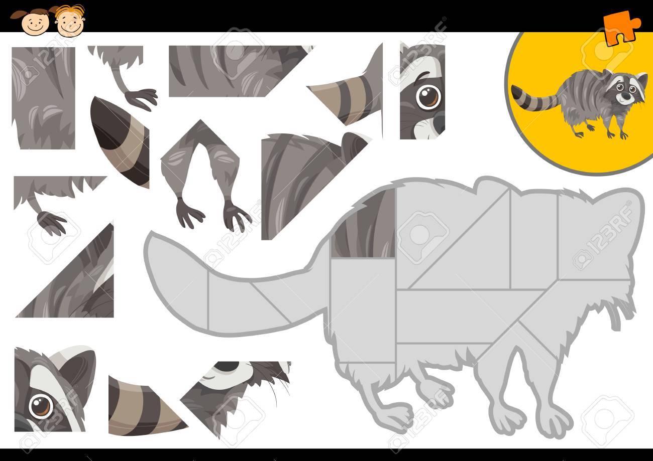 アライグマ動物文字で幼児教育ジグソー パズル タスクの漫画イラスト