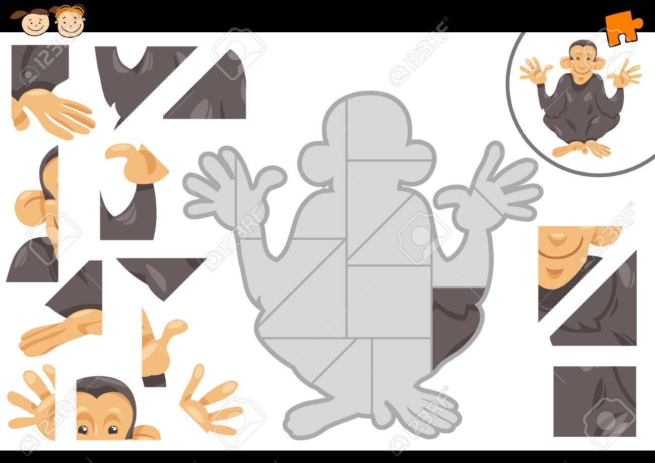 チンパンジー動物文字で幼児教育ジグソー パズル タスクの漫画イラスト