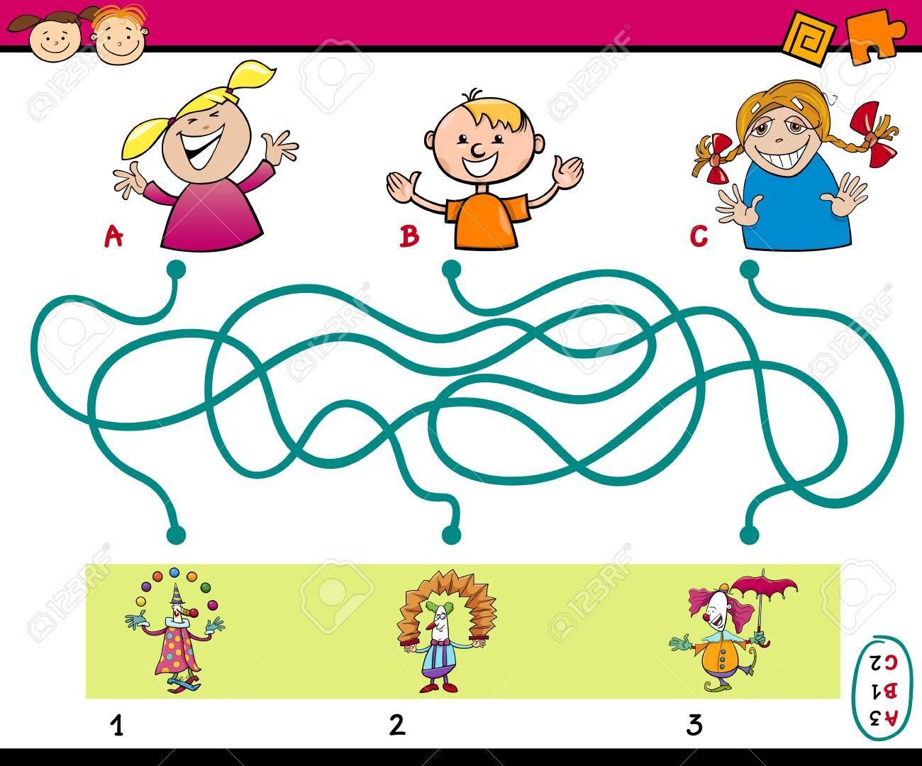 Cartoon Illustration Of Education Paths Or Maze Puzzle Task For