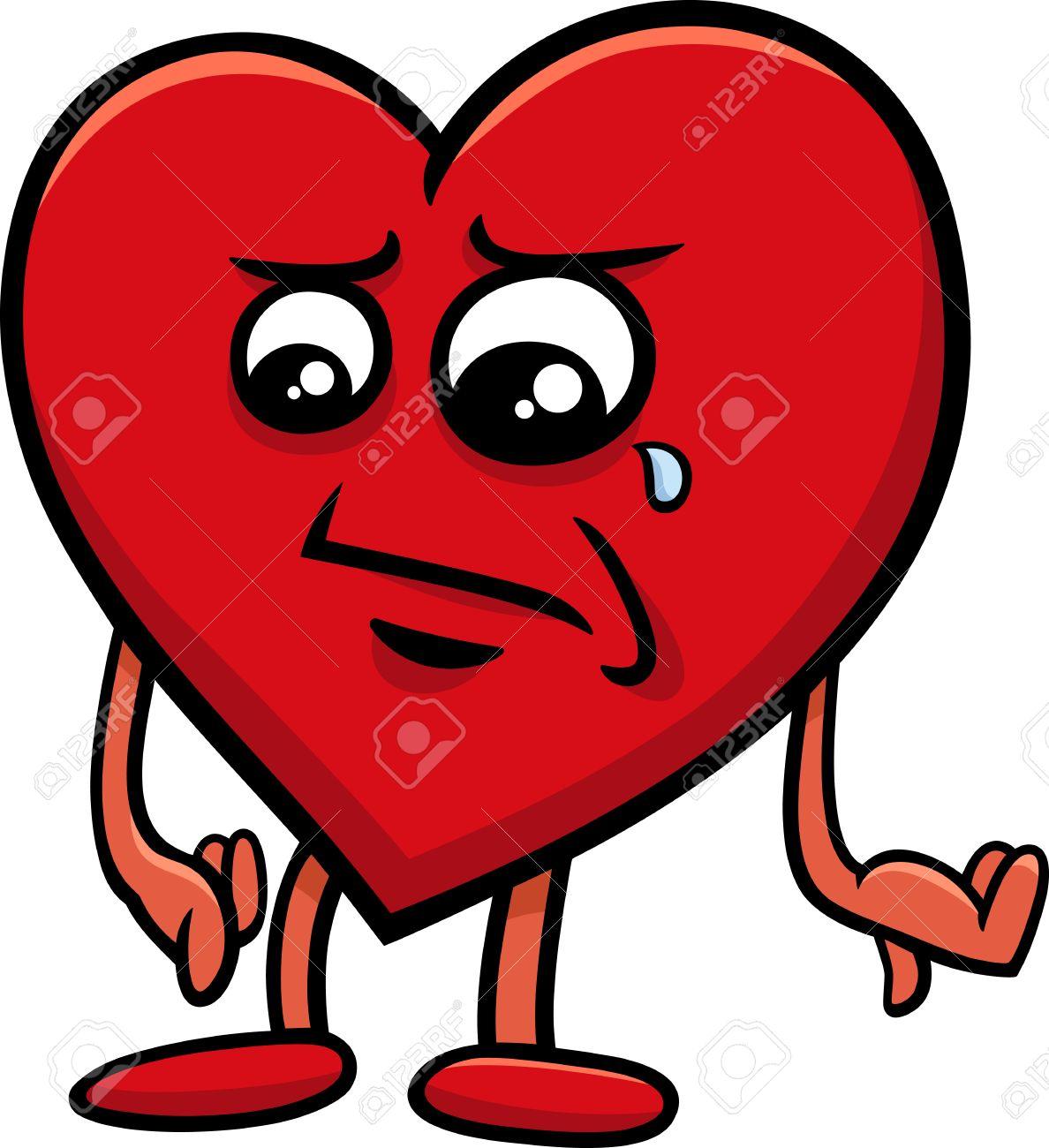 Cartoon Illustration Of Sad Heart Character On Valentine Day Stock Vector    47171069