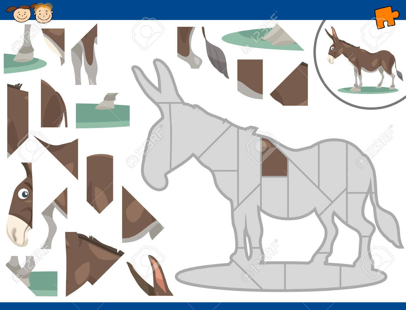 ロバ動物文字で幼児教育ジグソー パズル タスクの漫画イラスト