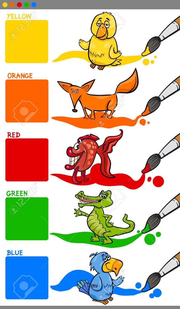 幼稚園の動物文字教育の一般的な色の漫画イラストを設定 ロイヤリティ