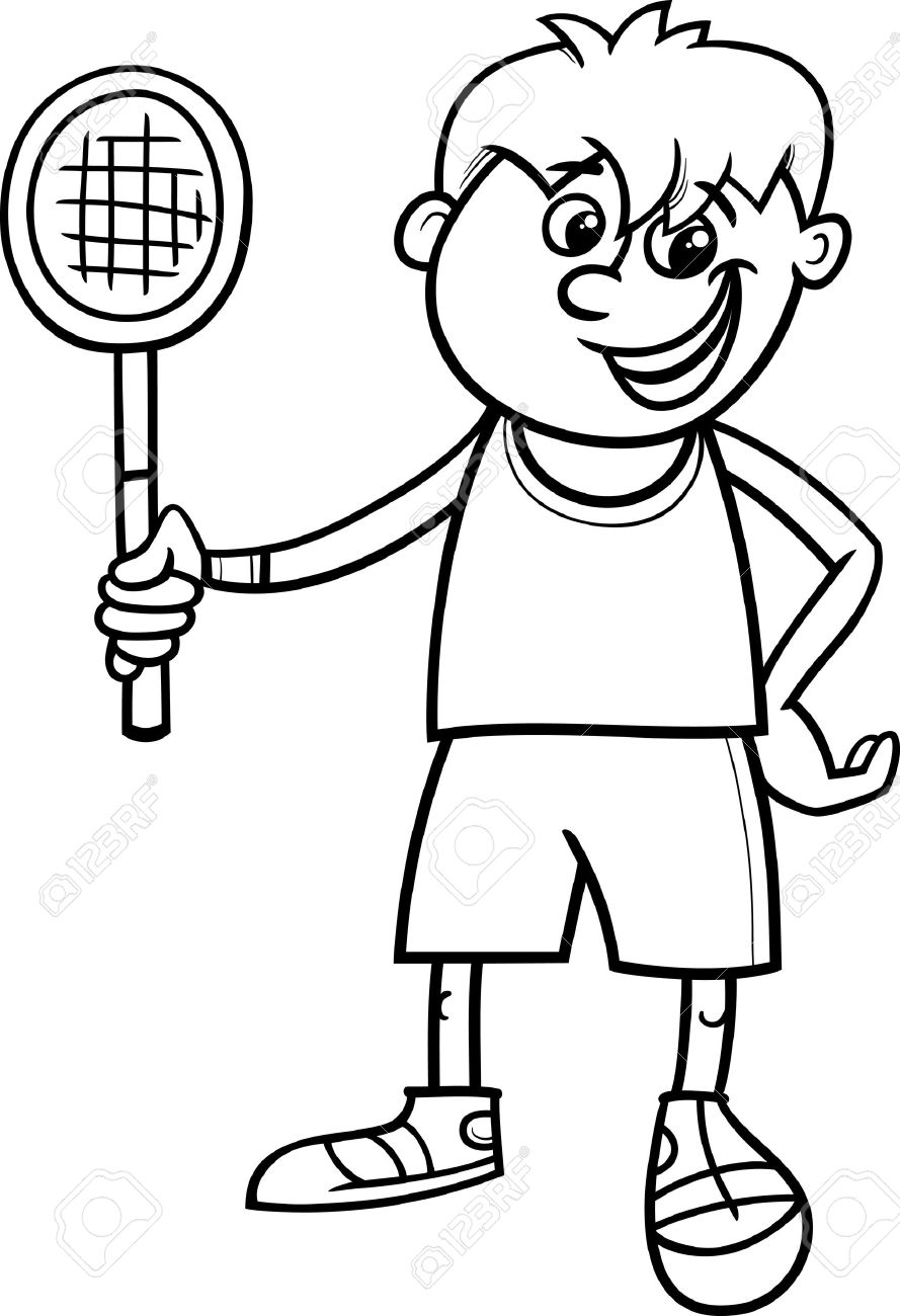 Black And White Cartoon Illustration Of Cute Boy With Tennis Racket For Coloring Book Stock Vector