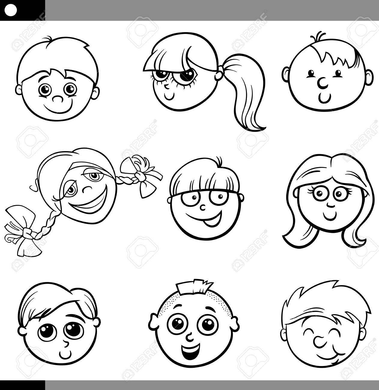 Schwarz-Weiß-Cartoon-Illustration Von Niedlichen Kinder Gesichter ...
