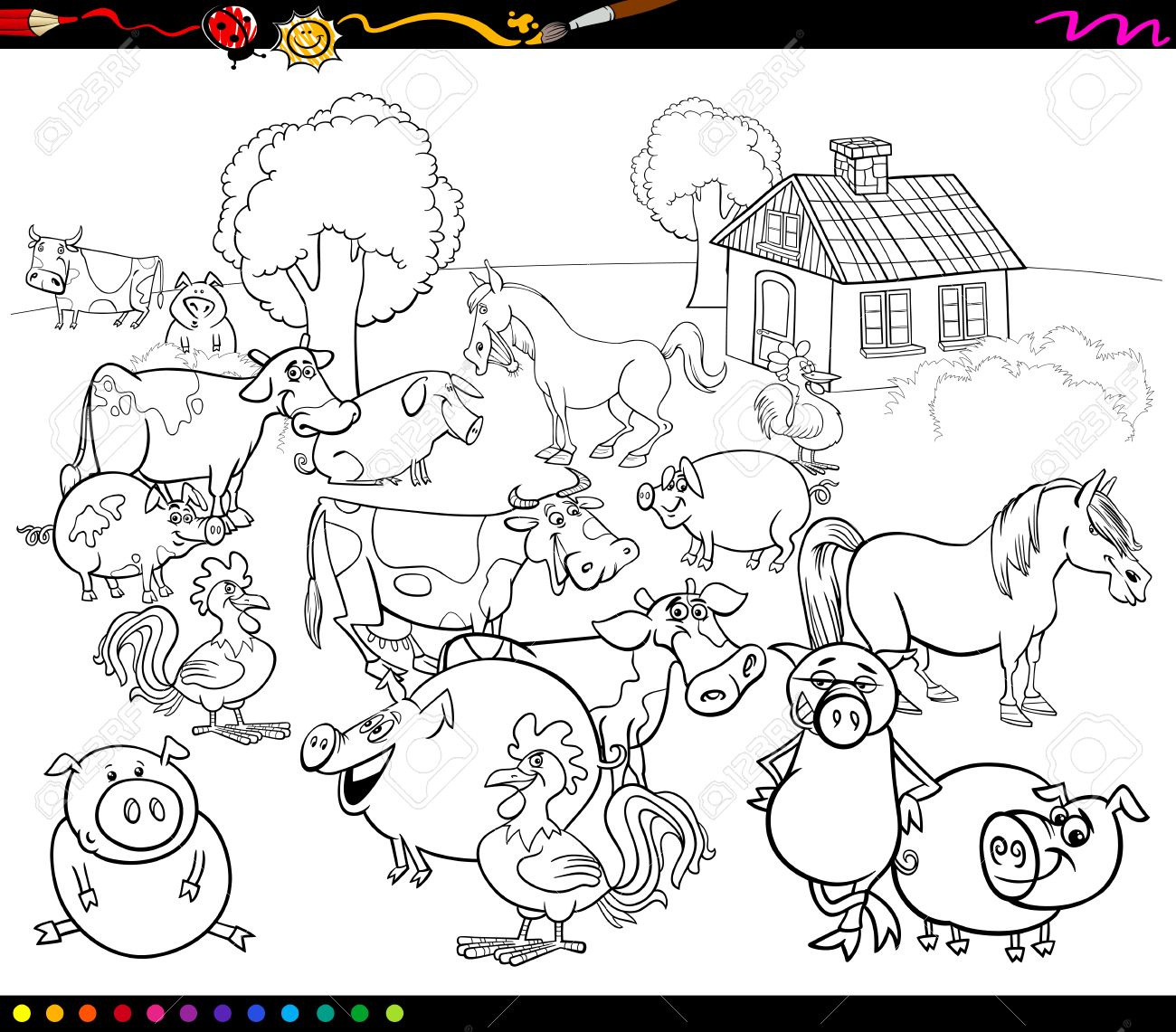 Black And White Cartoon Illustration Of Country Scene With Farm Animals For Coloring Book Stock Vector