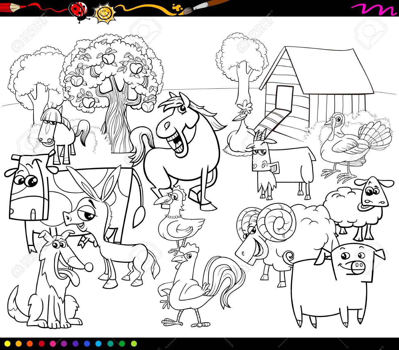 Ilustración De Dibujos Animados Blanco Y Negro De Caracteres Del ...