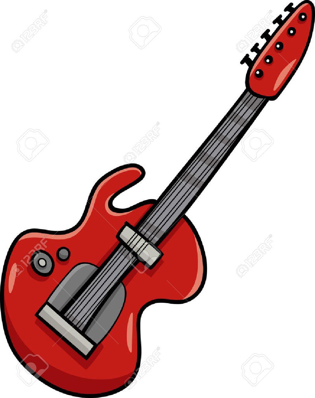 Ilustración De Dibujos Animados De La Guitarra Eléctrica Del Instrumento Musical De Clip Art