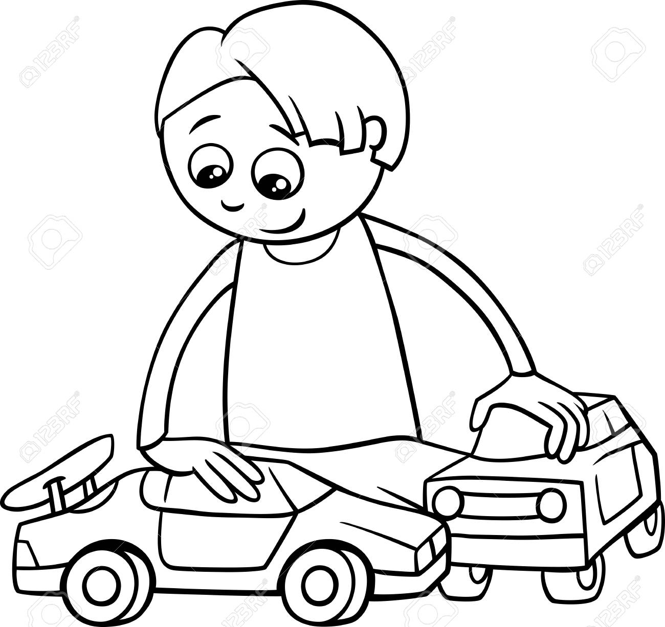 Black And White Cartoon Illustration Of Happy Boy With Toy Cars For Coloring Book Stock Vector