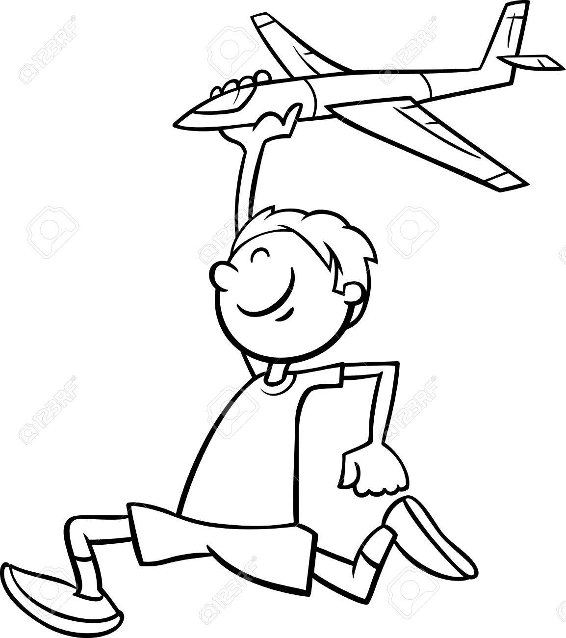 Black And White Cartoon Illustration Of Happy Little Boy With Toy Plane For Coloring Book Stock
