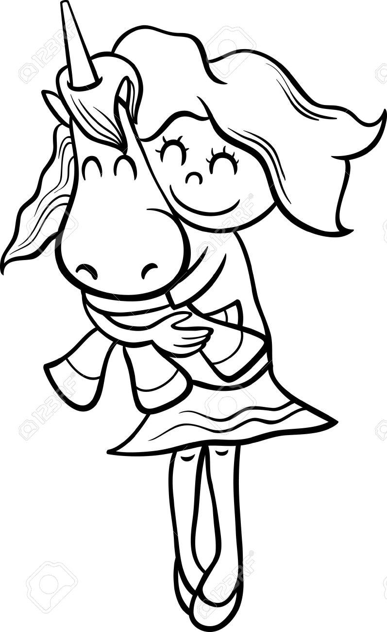Animados Blanco Y Negro Ilustración De La Niña Linda Con El Juguete ...