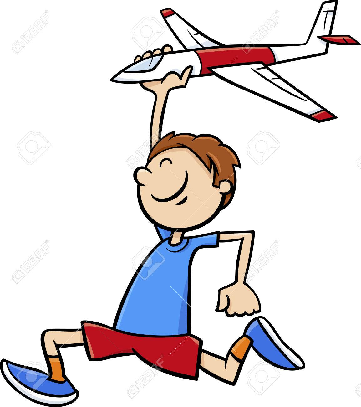 Cartoon Illustration Of Happy Little Boy With Toy Plane Royalty