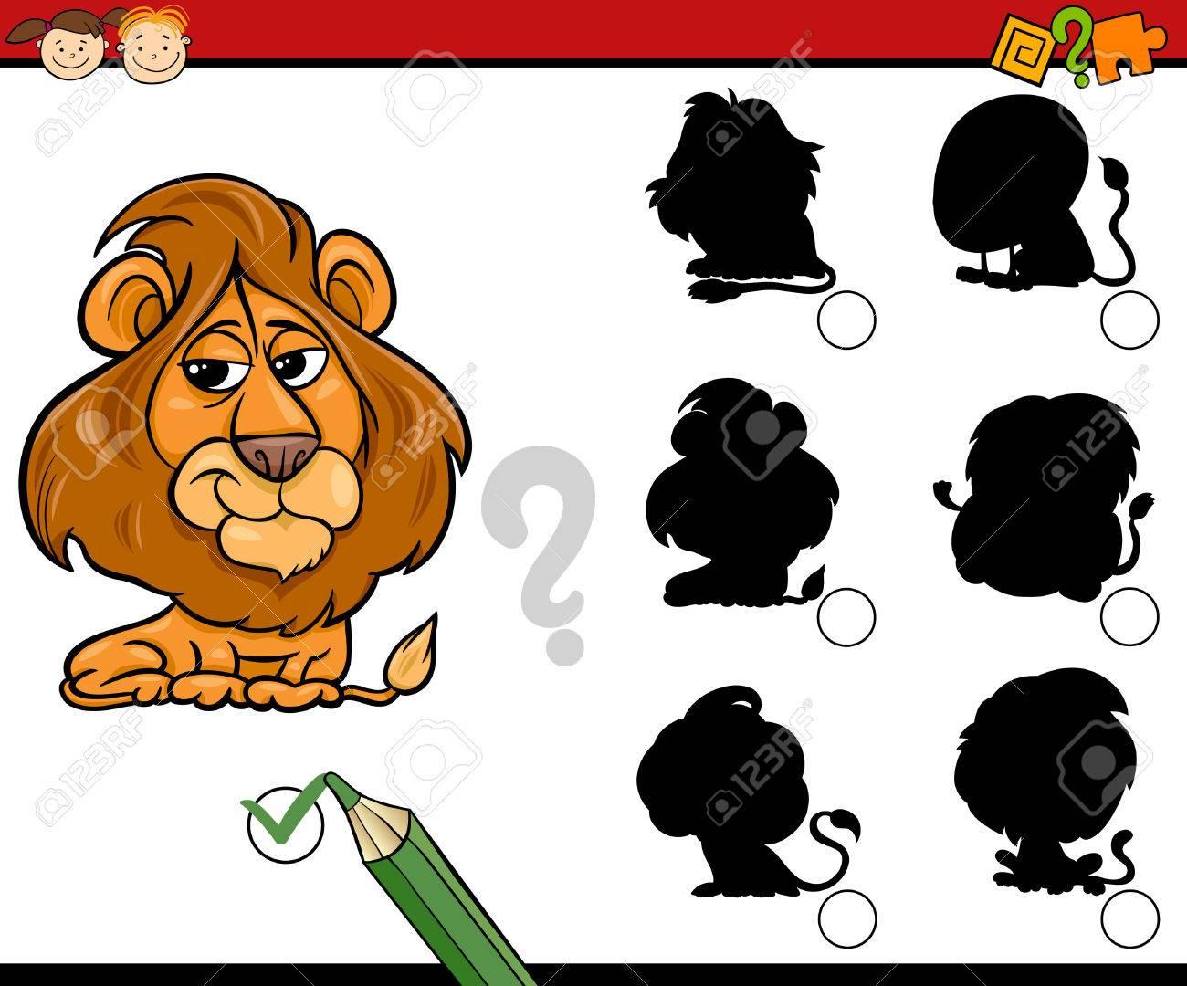 ライオンの動物キャラクターの幼稚園児のタスクに一致する教育影の漫画