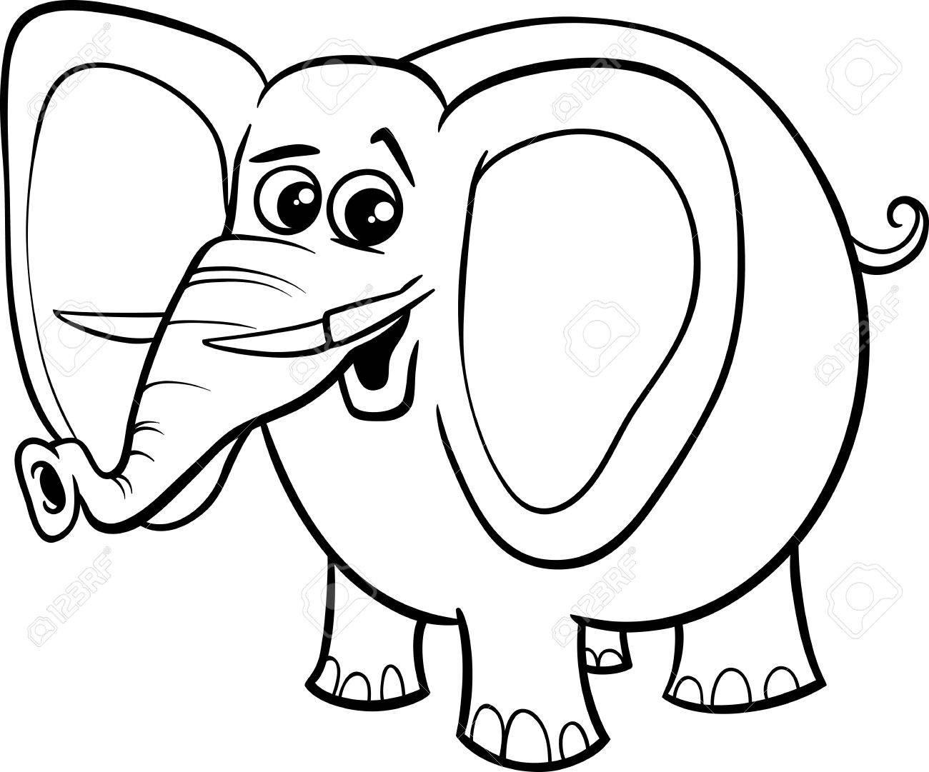 塗り絵のアフリカ象動物文字の白黒漫画イラスト ロイヤリティフリー