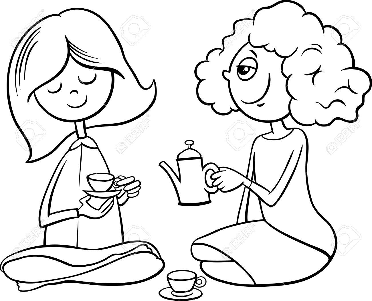 Ilustración De Dibujos Animados En Blanco Y Negro De Dos Niñas Lindo Con El Juguete Tazas De Té Jugar A Las Casitas Para Colorear Libro