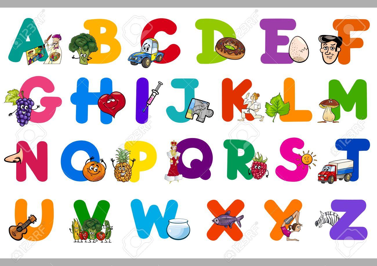 Ilustración De Dibujos Animados De Letras Mayúsculas Del Alfabeto