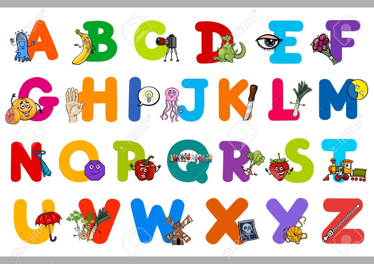 Alphabet preschool - Cartoon Illustration Of Capital Letters Alphabet Set With Objects For Preschool Children Education Stock Vector